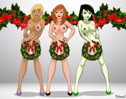 3girls adult ann_possible artist_name bare_shoulders big_breasts black_hair blonde_hair blue_eyes brown_nipples brown_skin busty cleavage covering covering_pussy curvy dark_nipples disney ear_piercing earrings erect_nipple erect_nipples eyeliner female female_only fnbman front_view green_lipstick green_nipples green_skin group hair_ornament hand_on_hip hands_on_hip hands_on_hips high_heels holding_object hoop_earrings hourglass_figure human kim_possible lipstick long_hair looking_at_viewer makeup mature milf mother multiple_females multiple_girls naked necklace nude orange_hair piercing pose posing red_lipstick shadow shego shiny shiny_skin short_hair simple_background tan tan_skin tanlines tanned text vivian_porter voluptuous white_background wide_hips yellow_hair