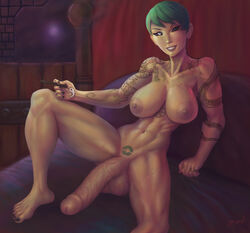 34-san abs areolae balls breasts dickgirl erection futa_only futanari highres huge_cock looking_at_viewer muscles muscular muscular_futanari nipples nude penis solo tattoo testicles