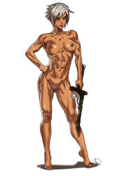 abs breasts broken_weapon brown_eyes female ganassa league_of_legends looking_at_viewer muscles muscular_female navel nipples pussy riven solo toned white_hair