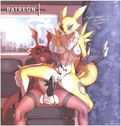 3_fingers anthro balls black_penis black_sclera breasts canine cum cum_in_pussy cum_inside cum_on_penis dialogue digimon female fur guilmon luraiokun male mammal open_mouth penis pussy renamon scalie spread_legs spreading unwanted_cumshot white_balls yellow_fur