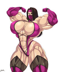 abs biceps big_muscles black_hair breasts cleavage elbow_gloves extreme_muscles female flexing gloves hair_over_one_eye huge_breasts kunoichi long_hair looking_at_viewer mask mileena mortal_kombat muscles muscular_female pose solo thick_thighs thighs zetarok