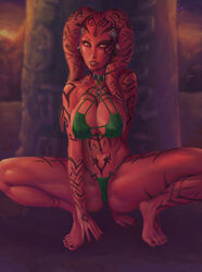 34-san absurdres barefoot breasts cleavage darth_talon female female_only highres looking_at_viewer panties solo spread_legs star_wars twi'lek