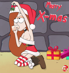 blowjob boots breast brown_hair christmas christmas_outfit dress_aside gift_box gravity_falls holding_object holding_penis living_room long_hair looking_up medium_breasts mistletoe nipple on_knees santa_hat stockings sucking tagme wendy_corduroy