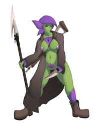 2017 alien belly big_breasts boots breasts clothed clothing coat dagger digital_media_(artwork) female flora_fauna floran footwear gun hair hi_res holding_object holding_weapon humanoid knife leaves melee_weapon nipples not_furry plant polearm pussy ranged_weapon rifle scar simple_background slightly_chubby sniper_rifle solo spear standing standing_tough starbound thick_thighs video_games weapon