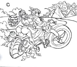1boy 1girl aged_up areola_slip arms_up back_view bare_shoulders big_ass big_breasts big_butt big_lips bike bimbo black_and_white bubble_ass busty butt_crack curvy dat_ass detailed_background duo female forehead_jewel gloves hand_on_hip hands_on_hip hands_on_hips headband high_heels hourglass_figure human looking_back male male/female midriff naruto omoi outdoor outside pose posing sakura_haruno short_hair short_shorts shorts sideboob sitting solo_female solo_male speech_bubble sun1sol text thick_lips thong tongue_out voluptuous wide_hips