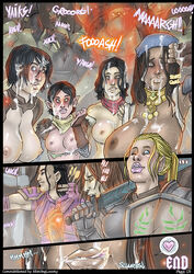 2014 areola armor arrow bethany_hawke blonde_hair bow_(weapon) breasts clothed clothing comic cum cum_on_breasts cum_on_face darkspawn death digital_media_(artwork) dragon_age_2 elf english_text female fire group hair human humanoid isabela licking licking_lips lipstick long_hair magic makeup male mammal marian_hawke melee_weapon merrill monster nathaniel_howe nikraria nipples not_furry nude one_eye_closed pointy_ears ponytail ranged_weapon shield sword text tongue tongue_out weapon wink