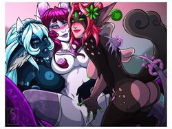 5_fingers anthro areola arofexdracona ass blue_eyes blue_fur blue_hair blue_lips blue_nipples blue_sclera border breasts brown_fur brown_tail clothing female finger_fuck fingering fingering_partner flower flower_in_hair fur green_eyes green_nipples green_sclera group group_sex hair humanoid_hands inner_ear_fluff legwear mammal mostly_nude navel nipples no_pupiles nude open_mouth pink_hair pink_nipples plant purple_lips pussy_juice red_hair red_lips sex smile spread_legs spreading stardragon_(species) stockings threesome vaginal_penetration white_border white_fur yuri