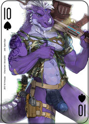 2017 5_fingers abs anthro assault_rifle balls biceps blue_eyes card clothed clothing digital_media_(artwork) dragon erection fonyaa gun hair handgun holding_object holding_weapon horn humanoid_penis male military muscular muscular_male navel nude partially_retracted_foreskin pecs penis playing_card ranged_weapon rifle scalie simple_background smile solo standing tattoo torn_clothing uncut weapon