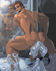 1boy absolutbleu ass ass_grab bara big_breast big_breasts big_butt big_penis dildos fuck_toy gay human male male_only muscle solo tagme wet yaoi