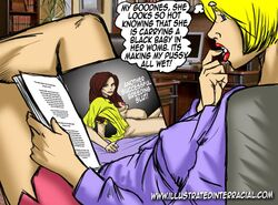 blonde_hair english_text female illustrated-interracial interracial pornography pregnant solo text