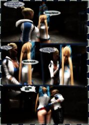 2girls 3d angry arms_up ass blakknight08 blonde_hair bondage bound cassie_cage crossover dead_or_alive dialogue female femdom femsub fully_clothed kidnapped legs lezdom marie_rose mortal_kombat panties speech_bubble thighhighs wedgie yuri