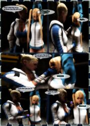 2girls 3d angry arms_up ball_gag blakknight08 blonde_hair bondage bound cassie_cage covering_another's_mouth covering_mouth crossover dead_or_alive dialogue female femdom femsub fully_clothed gagged_speech hand_over_another's_mouth hand_over_mouth handgag kidnapped legs lezdom marie_rose mortal_kombat panties speech_bubble thighhighs yuri