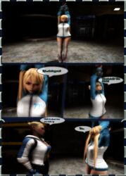 2girls 3d angry arms_up blakknight08 blonde_hair bondage bound cassie_cage crossover dead_or_alive dialogue female femdom femsub fully_clothed kidnapped legs lezdom marie_rose mortal_kombat shoes speech_bubble thighhighs yuri