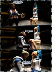 2girls 3d angry arms_up ball_gag blakknight08 blonde_hair bondage bound cassie_cage dead_or_alive dialogue female femdom femsub fully_clothed gagged gagged_speech kidnapped legs lezdom marie_rose mortal_kombat panties rope speech_bubble stool yuri