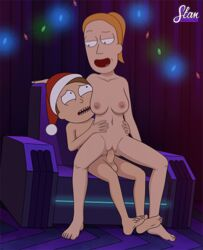 animated barefoot bouncing_breasts breasts brother_and_sister brown_hair christmas christmas_hat christmas_lights female hand_on_hips human incest long_hair looking_at_another looking_down looking_up male male/female medium_breasts morty_smith naked nipples open_mouth orange_hair penis ponytail pussy red_hair reverse_cowgirl reverse_cowgirl_position rick_and_morty santa_hat sfan siblings sitting_on_chair sitting_on_penis sitting_on_person size_difference summer_smith upset vagina vaginal_penetration
