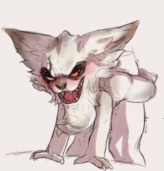 anal anal_sex blind_eye chin_tuft claws drooling eye_scar fur kled league_of_legends male nude open_mouth penetration riot_games saliva scar sex simple_background sweat teeth unknown_artist video_games wheelbarrow_position white_fur yaoi yordle