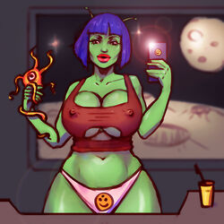 1girl alien alien_girl antenna arms_up bare_shoulder big_breasts blue_hair boobsgames brown_eyes busty cleavage curvy detailed_background erect_nipple erect_nipples eyelashes female female_only front_view green_skin holding_object humanoid indoor inside lipstick looking_at_viewer makeup midriff nipple_bulge not_furry pose posing red_lipstick room selfie shiny shiny_skin short_hair sketch solo solo_female space standing tube_top tubetop underwear voluptuous white_panties wide_hips