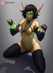 areolae blood_elf breasts condom cum cum_drip elf female female_only green_eyes looking_at_viewer nipples pointy_ears pumpkinsinclair solo thighhighs used_condom world_of_warcraft