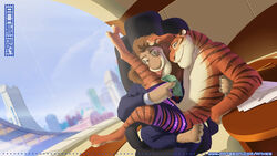 2boys furry male_focus money multiple_boys naughty_face office penis sitting sitting_on_person smile undressing window yaoi zootopia