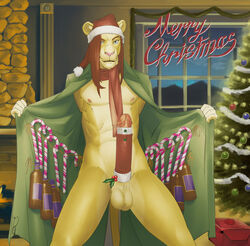 2017 alcohol balls beverage candy candy_cane christmas clothed clothing coat cock_sweater dick_sweater erection exposed exposed_glans exposure feline flashing food holidays ian_mckleston jonas-pride lion male mammal merry_christmas mistle_toe painted_background partially_clothed penis scarf solo stocking_cap wine