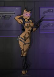 aleone anthro athletic barefoot breasts clothed clothing comission cybernetics cyborg feline female furry future glowing glowing_eyes gun handgun jacket lynx machine mammal muscular nipples nude pistol pussy ranged_weapon science_fiction shorts silencer solo topless weapon