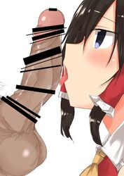 1boy ascot bar_censor black_eyes black_hair blush censored close-up erection eyebrows_visible_through_hair face female from_side golgi_hon hair_tubes highres male_pubic_hair open_mouth penis profile pubic_hair reimu_hakurei sidelocks simple_background straight testicles tongue tongue_out touhou veins white_background