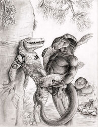 2013 4_toes 5_fingers against_tree anal anal_sex angus_fuller anthro anthro_on_anthro balls barefoot biped bracelet campfire chaps claws clothed clothing cobbie cobra cowboy_hat crocodile crocodilian duo erection eye_contact forked_tongue greyscale gun handgun hat hi_res holster interspecies jewelry long_tail male male/male male_penetrating monochrome neverwolf nipples nude outside pencil_(artwork) penetration penis ranged_weapon reptile revolver scalie sex sharp_teeth slit_pupils smile snake snake_hood stand_and_carry_position standing story story_in_description tattoo teeth toe_claws toes tongue tongue_out topless traditional_media_(artwork) tree watermark weapon