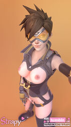 3d areolae blender breasts dickgirl flaccid foreskin futa_only futanari looking_at_viewer nipples overwatch penis solo strapy tracer uncut