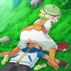 1boy 1girl absurdres ass bel_(pokemon) blonde_hair blush breasts clothed clothed_sex cowgirl_position cunnilingus dress erection facesitting feet female gloves grass hat highres human looking_back lying nintendo on_back on_grass oral pants pantylines peeing pokemon pokemon_bw saliva satoshi_(pokemon) see-through shoes_removed short_hair single_shoe sitting straight urine wet white_dress