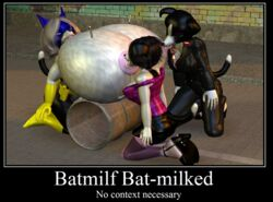 3girls anthro batmilf breast_expansion breastfeeding cgi daughter deedonis family female furry heroine humiliation hyper hyper_breasts lactation milf milk mother_and_daughter needle superheroine syringe text voluptuous