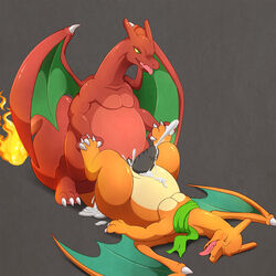 anal anal_sex belly between_toes big_belly charizard cum cum_in_ass cum_inside cum_while_penetrated cumshot duo ejaculation erection feral hands-free male male/male nintendo orgasm penetration pokémon_(species) pokemon rikuaoshi scarf story story_in_description tongue tongue_out video_games wings