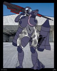 abs anthro_plane big_breasts breasts female gun hangar huge_breasts living_aircraft looking_at_viewer muscular outside plushie pose pussy ranged_weapon standing tattoo toy vrabo weapon