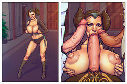 1girl 3boys bare_shoulders belt bent_over big_breasts black_eyes boobsgames breast_hold brown_hair busty cleavage curvy denim denim_shorts detailed_background double_bun erect_nipple erect_nipples erection eyelashes fellatio female front_view group hair_bun hair_ornament high_heel_boots high_heels holding_object hourglass_figure human indoor inside lightsaber male male/female male_pov midriff multiple_boys multiple_males oral oral_sex padme_amidala paizuri pose posing room shadow short_shorts shorts smiling solo solo_female standing star_wars tied_hair vein veins veiny veiny_penis voluptuous wide_hips