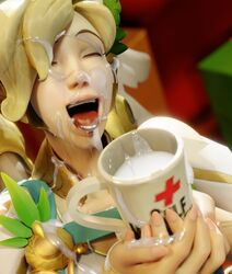 coffee_mug covered_in_cum cum_filled cum_in_container cum_in_mouth cum_on_face cumshot excessive_cum kreisake mercy overwatch