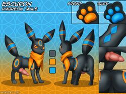 all_fours anus ass balls canine close-up clothing eeveelution erection escuron fan_character feral glowing male mammal model_sheet neckerchief nintendo paws penis pokémon_(species) pokemon presenting presenting_hindquarters scarf solo text umbreon video_games winick-lim