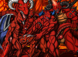 2014 anal anal_sex animal_genitalia arremer ass balls big_penis blizzard_(disambiguation) brooklyn_(gargoyles) capcom chaor chaotic claws crest cum cum_inside demon diablo digital_media_(artwork) disney dragon eidolon erection firebrand gargoyle gargoyles group group_sex hair hell hellboy hexen_2 hi_res horn horny_(disambiguation) humanoid humanoid_penis kevindragon male male/male membranous_wings monster muscular muscular_male nipples not_furry nude open_mouth oral orgy penetration penis pentration precum raven_software reptile scalie serpent_rider sex teeth tongue train_position video_games wings