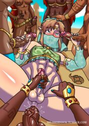 1boy 5girls abs ahe_gao anal anal_sex androgynous anus ball_piercing balls belly_piercing belt big_breasts big_penis blonde_hair blue_eyes blue_nails blurry_background breasts breath_of_the_wild clothing color dark-skinned_futanari dark_skin desert femboy futa_on_male futanari gerudo gerudo_link gerudo_top gerudo_veil girly handjob interracial legwear link long_hair masturbation milo_hornyck muscles muscular_female nipple_piercing nipples penis penis_grab penis_piercing pov red_hair ring small_penis tattoo tears testicles the_legend_of_zelda thick_thighs thighs thumb_ring trap veiny_penis