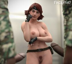 2boys absurdres areolae breasts erection female female fuckhead highres male meryl_silverburgh metal_gear_solid nipples nude penis pubic_hair pussy solo_focus