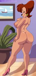 1girl anthro ass big_ass big_breasts big_butt breasts brown_hair butt canine dog eyebrows eyelashes female goof_troop hair high_heels hips milf mother naked nipples nude nudity parent peg_pete pussy scaitblue sexy_pose shoes smile thick_thighs thighs vagina wide_hips