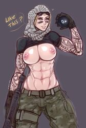 abs biceps blonde_hair erect_nipples female large_breasts large_nipples muscle_tone muscular_female nipples pale_skin perky_breasts pose puffy_areola rainbow_six rifle solo sweat tattoos weapon