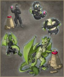 2018 anthro bat_wings breasts cleavage clothed clothing comic dragon female flinters green_nipples green_scales human mammal membranous_wings nipple_bulge nipples nude pussy scales solo torn_clothing transformation wings yellow_eyes