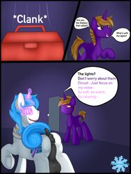 anus askfrosty balls blue_hair braided_hair brown_eyes brown_hair comic cutie_mark door duo equine female feral frost_bright hair hooves horn inside male mammal mind_control my_little_pony puffy_anus smile text toolbox unicorn