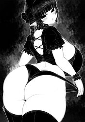 animal_ears ass back bangs bare_arms big_ass black_background black_legwear blunt_bangs blush booty bow bra braid braids breasts cat_ears curvy dat_ass embarrassed female from_behind ginku_mh greyscale hairbow hips huge_ass huge_breasts kaenbyou_rin looking_at_viewer looking_back monochrome no_pants open_mouth panties panty_pull pointy_ears short_hair_with_long_locks solo thick_thighs thighhighs thighs touhou twintails underwear wide_hips wrist_cuffs