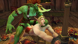 3d anal blood_elf cum duo erection finger_in_mouth gay male muscles penis size_difference thesilvershot troll warcraft