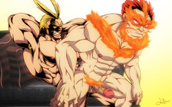 2boys all_might anal bara blonde_hair boku_no_hero_academia endeavor_(boku_no_hero_academia) male_focus multiple_boys muscle nude penetration red_hair sex smile tagme yaoi