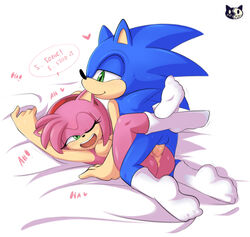 2018 absurd_res amy_rose anthro anthro_on_anthro anus ass aybr balls bed bed_sheet bedding bite black_nose blue_fur breasts clothing dialogue duo ear_biting ear_nom english_text eyelashes female fur grabbing_sheets green_eyes hair hairband half-closed_eyes happy happy_sex heart hedgehog hi_res humanoid_penis laugh leg_wrap legwear lying male male/female male_penetrating mammal missionary_position mostly_nude nipples nom nude on_back on_bed one_eye_closed open_mouth penetration penis pink_fur pink_hair quills raised_arm romantic_couple sex short_hair smile socks sonic_(series) sonic_the_hedgehog speech_bubble text vaginal_penetration vaginal_penetration video_games