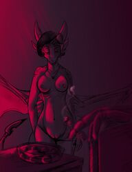 2018 anthro black_hair blur_(disambiguation) breasts cigar clothing cynder dragon female hair horn jewelry necklace nipples noir nude panties pussy scales scalie simple_background smoke spyro_the_dragon standing underwear undressing video_games wanderertamplior western_dragon