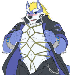 barely_visible_penis blue_fur blush bondage bondage bound canine clothing fenrir_(housamo) fur hi_res male mammal muscular muscular_male open_jacket pants piercing rope rope_bondage rope_harness solo tattoo tokyo_afterschool_summoners wolf