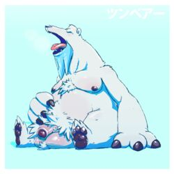 2017 3_fingers 3_toes balls beard beartic belly big_balls big_belly big_penis blue_background body_hair closed_eyes dogfu facial_hair flaccid foreskin front_view fur hand_on_stomach happy_trail hi_res male mammal nintendo nipples open_mouth pawpads paws penis pokémon_(species) pokemon pubes simple_background solo teeth toes tongue tongue_out uncut video_games white_fur yawn