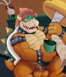 2017 ahe_gao animal_genitalia balls bowser collar flashlight foreskin genital_slit green_scales growth hair humanoid_penis koopa looking_pleasured macro male mario_bros masturbation nintendo open_mouth orange_scales penis red_hair reptile scales scalie shell simple_background slightly_chubby slit smile solo spectral-bat spiked_armlet spiked_collar spikes teeth tree uncut video_games warp_pipe